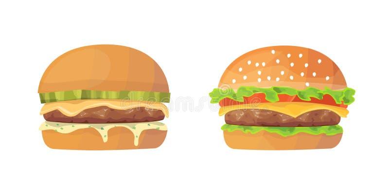 Комплект шаржа бургера свежие иллюстрации cheeseburger и гамбургера Быстро-приготовленное питание бесплатная иллюстрация