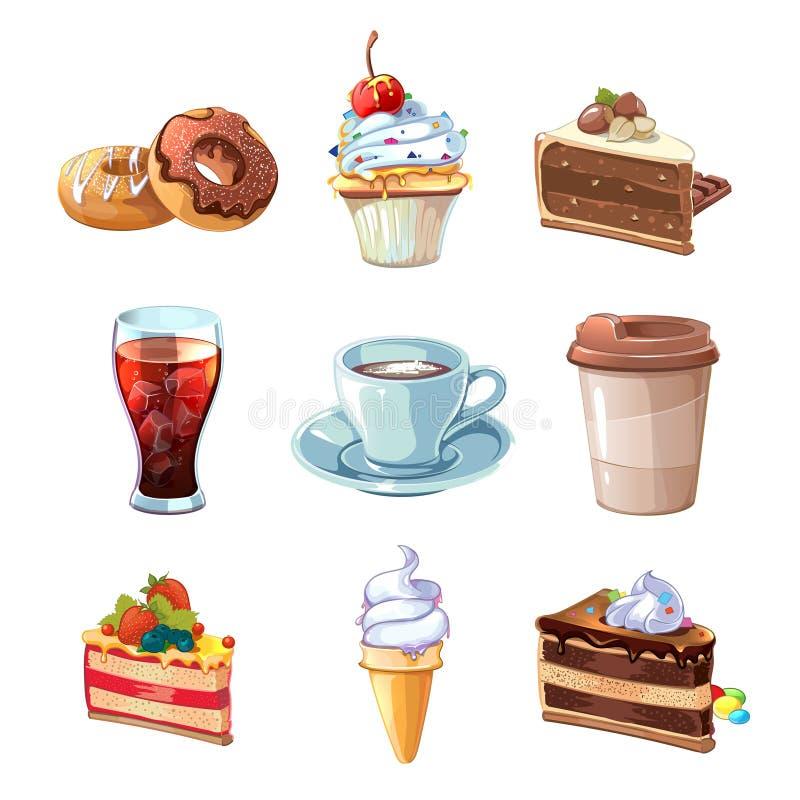 Комплект шаржа вектора продуктов кафа улицы Шоколад, пирожное, торт, чашка кофе, донут, кола и мороженое иллюстрация вектора