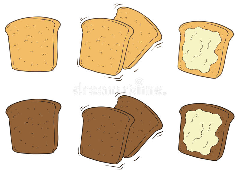 Комплект шаржа вкусного провозглашанного тост хлеба с маслом иллюстрация штока