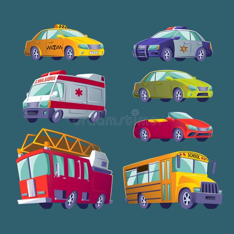 Комплект шаржа значков городского транспорта Пожарная машина, машина скорой помощи, полицейская машина, школьный автобус, такси,  иллюстрация вектора