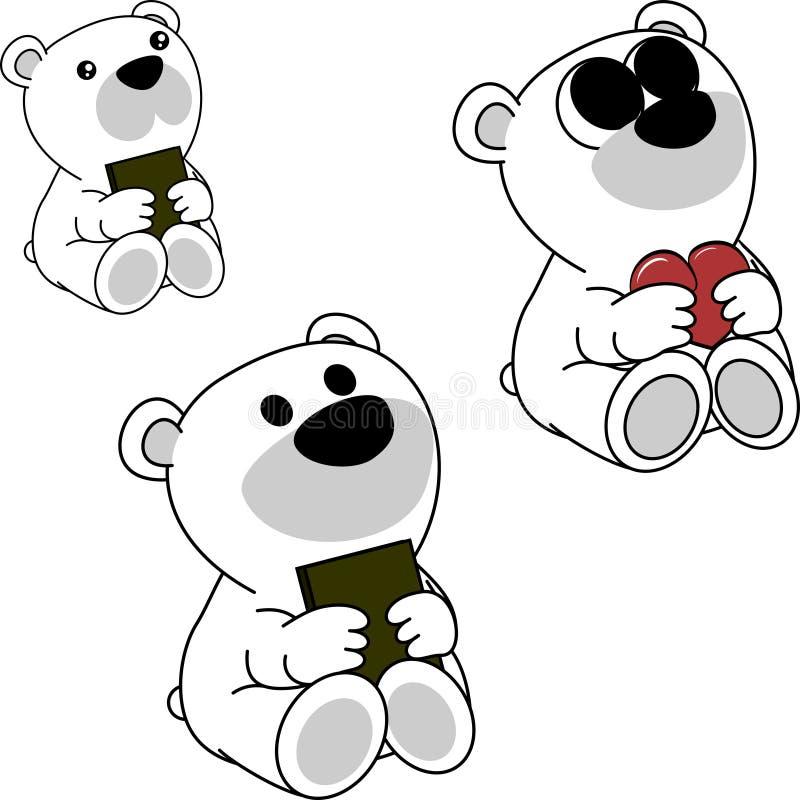 Комплект шаржа плюшевого медвежонка симпатичного милого маленького младенца приполюсный бесплатная иллюстрация
