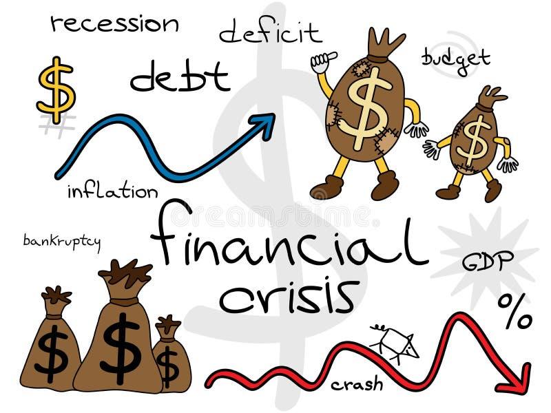 Комплект шаржа финансового кризиса иллюстрация штока