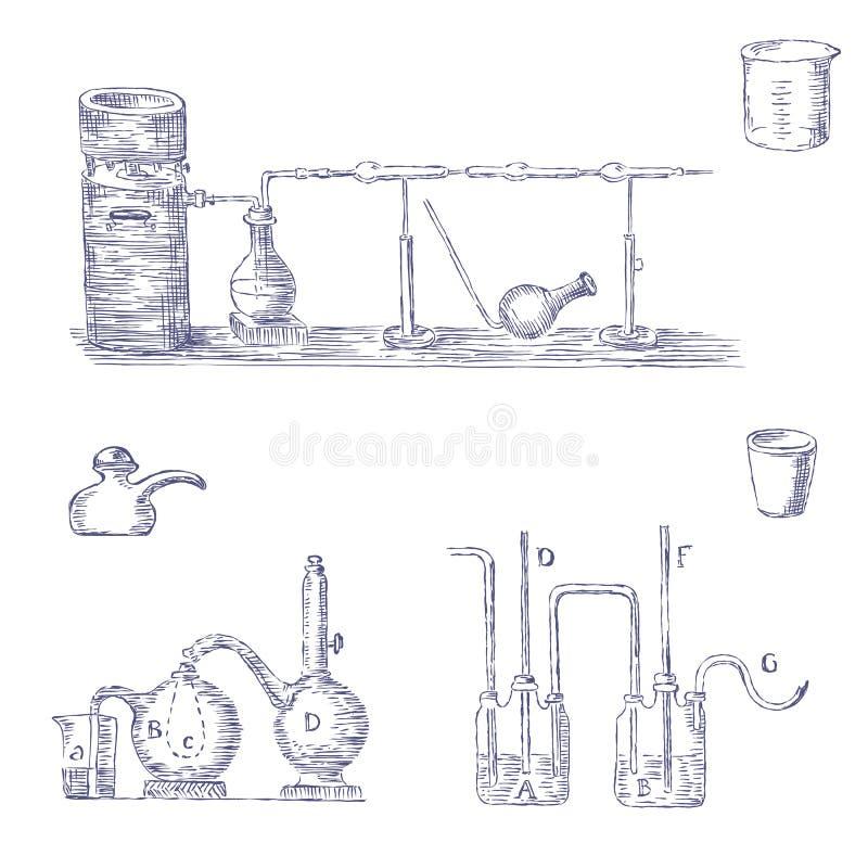 Комплект шаржа химического оборудования бесплатная иллюстрация