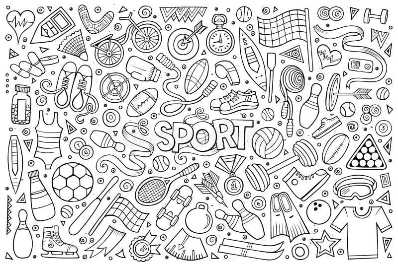 Комплект шаржа Doodle объектов и символов спорта иллюстрация вектора
