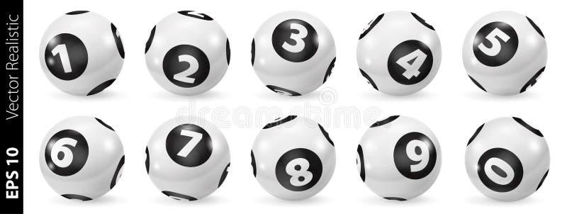 Комплект шариков номера лотереи черно-белых 0-9 иллюстрация вектора