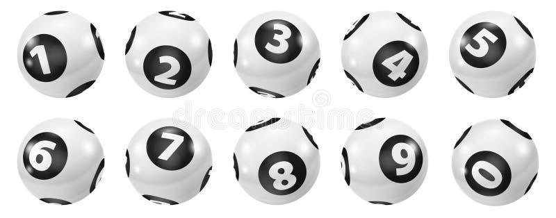 Комплект шариков номера лотереи черно-белых 0-9 бесплатная иллюстрация