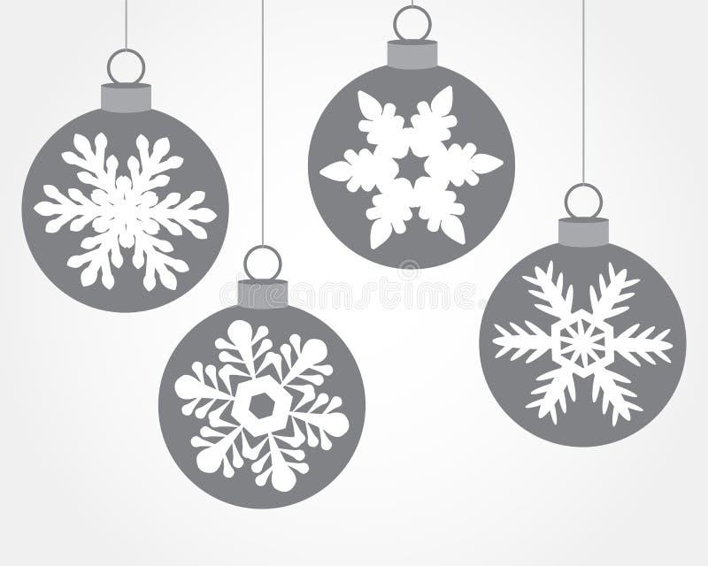 Комплект шариков рождества украшенных с снежинками бесплатная иллюстрация