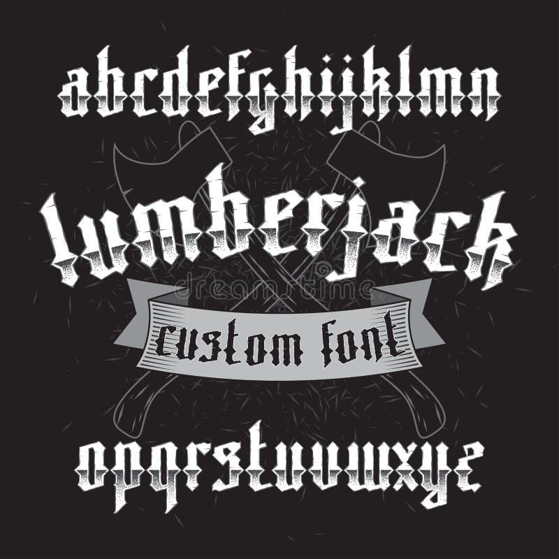 Комплект шрифта Lumberjack изготовленный на заказ готический иллюстрация вектора