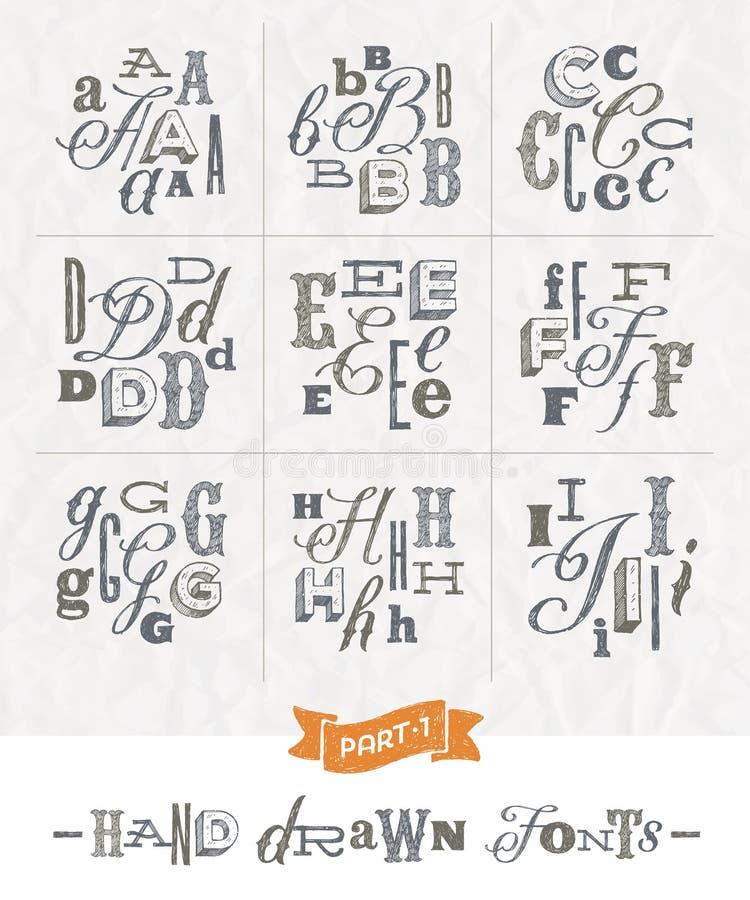 Комплект шрифтов нарисованных рукой различных иллюстрация вектора
