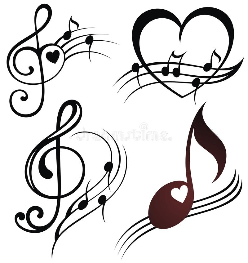 Комплект штата музыкального примечания бесплатная иллюстрация