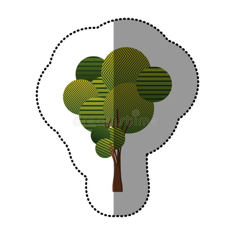комплект штемпеля абстрактного значка дерева иллюстрация вектора