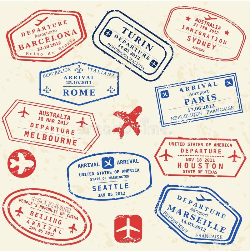 Комплект штемпеля пасспорта иллюстрация штока