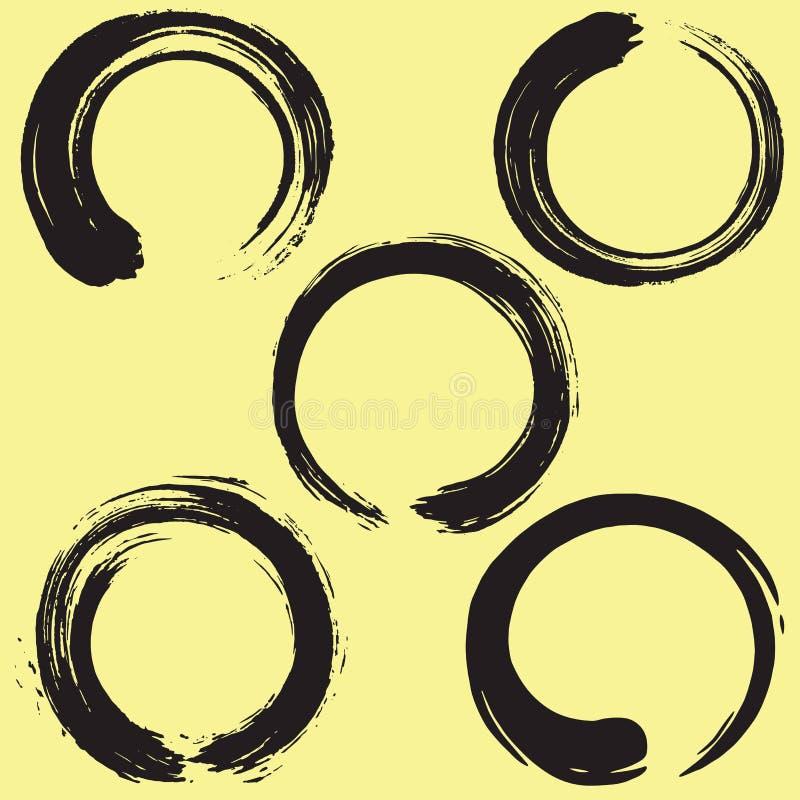 Комплект щетки круга Дзэн Enso также вектор иллюстрации притяжки corel иллюстрация вектора