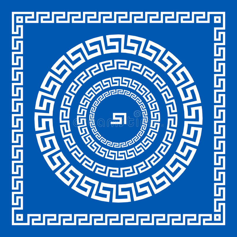 Комплект щеток вектора для того чтобы создать греческие картины меандра и образцы их применения для кругом и квадратных рамок Гре иллюстрация вектора