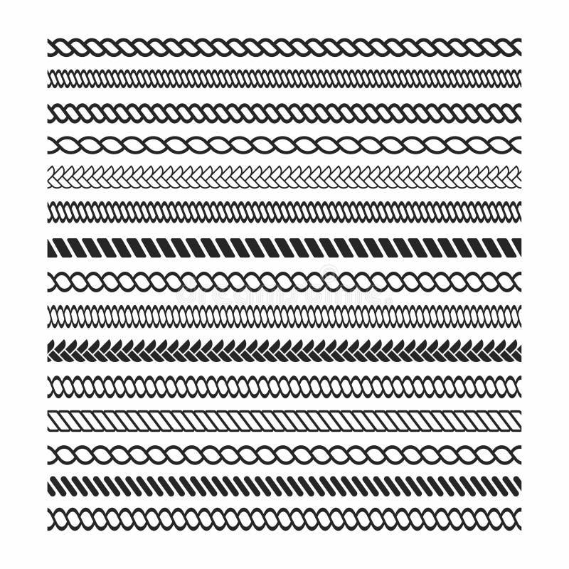 Комплект щеток веревочки Элементы дизайна рамки веревочки Безшовная морская текстура веревочки для украшения иллюстрация штока