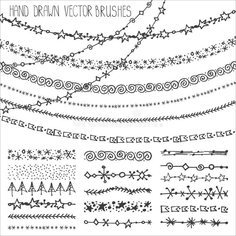Комплект щеток гирлянды зимы все градиенты doodles cmyk рождества легкие не собрали никакое recolour предметов к черный иллюстрация вектора