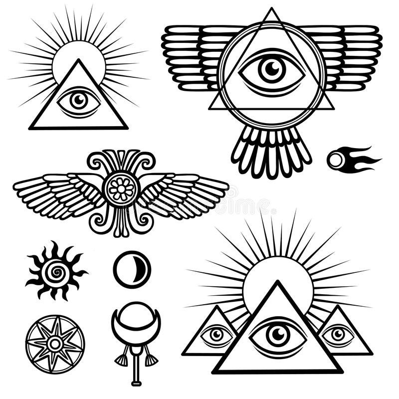 Комплект эзотерических символов: крыла, пирамида, глаз, луна, солнце, комета, звезда иллюстрация вектора