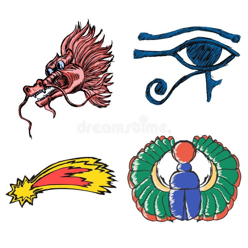 Комплект эзотерических символов иллюстрация вектора