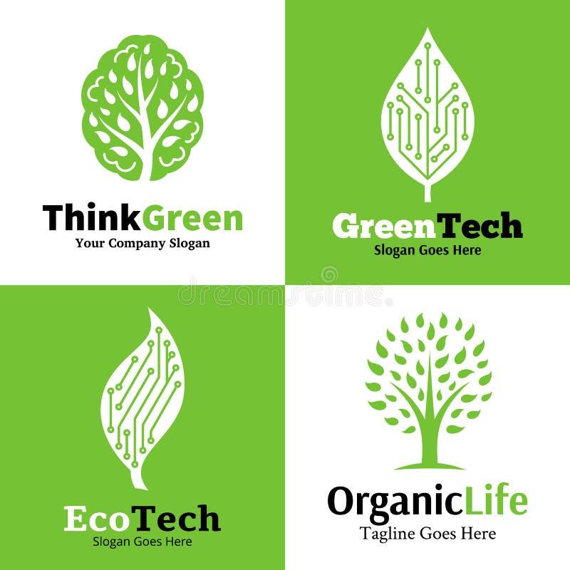 Комплект экологических логотипа, значков и элемента дизайна иллюстрация вектора