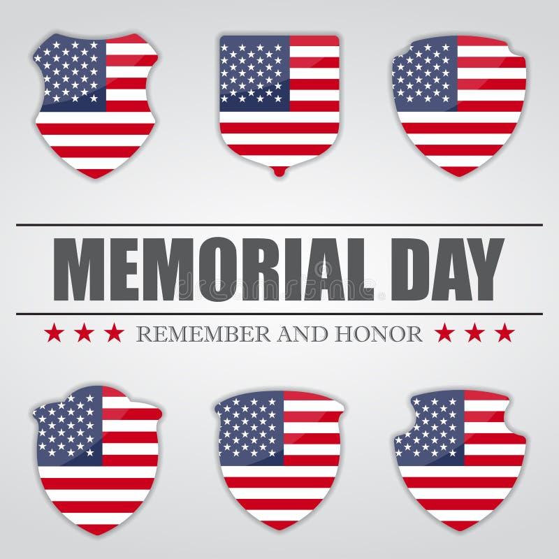 Комплект экранов с флагом США внутрь на День памяти погибших в войнах также вектор иллюстрации притяжки corel иллюстрация вектора