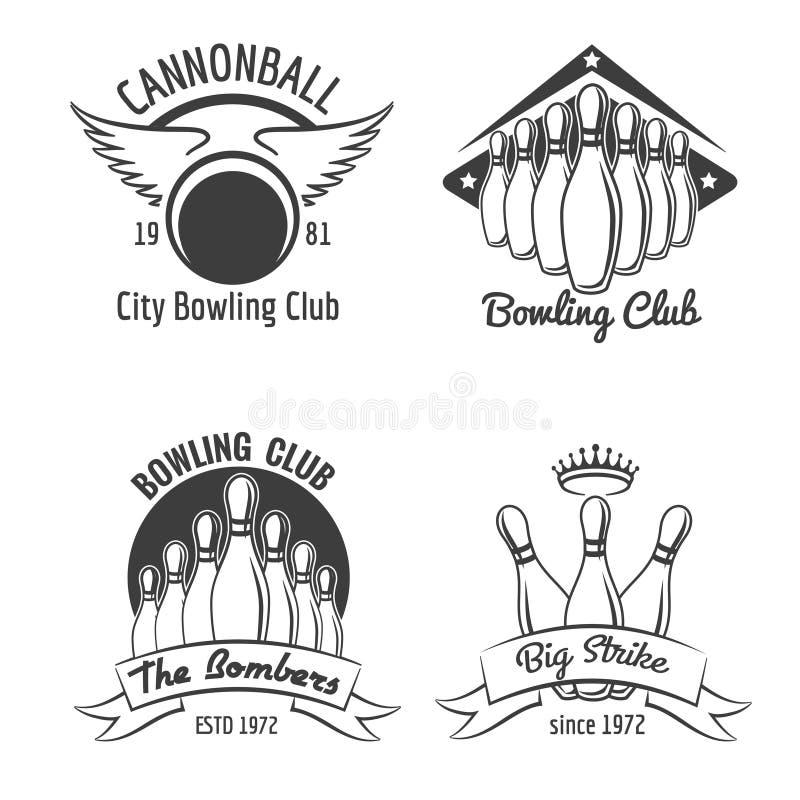 Комплект эмблемы клуба боулинга иллюстрация вектора