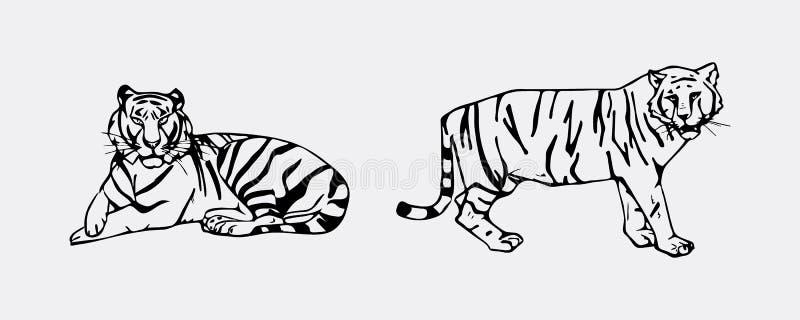 Комплект эмблемы тигра иллюстрация штока