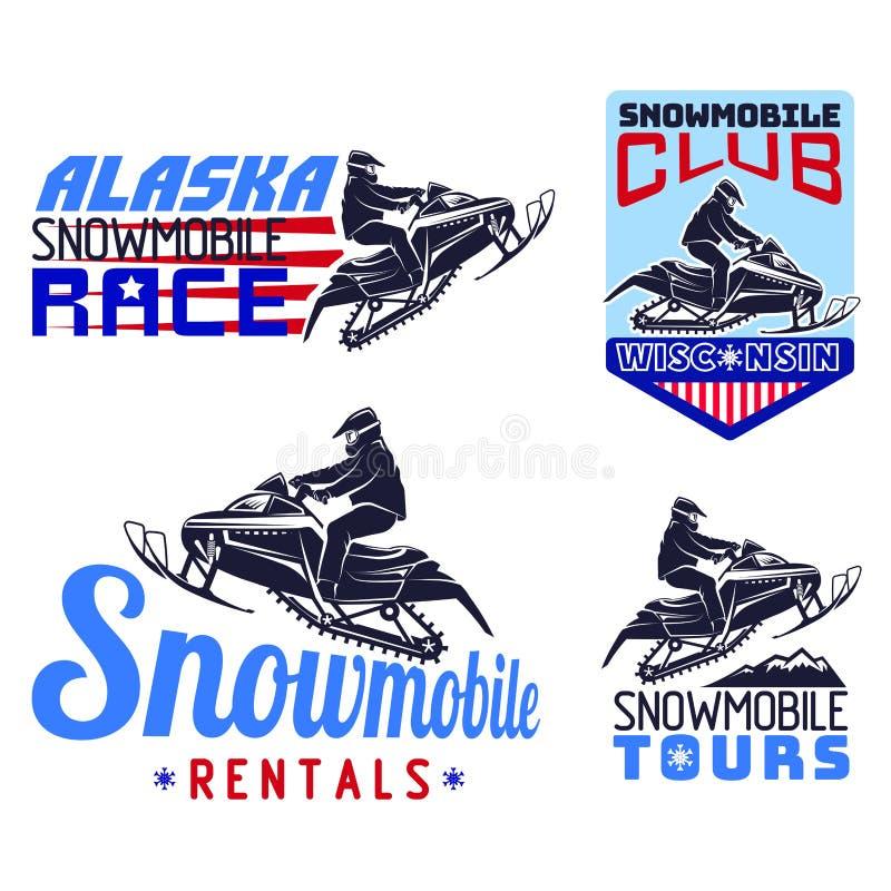 Комплект эмблем, значков и значков снегохода зимы бесплатная иллюстрация