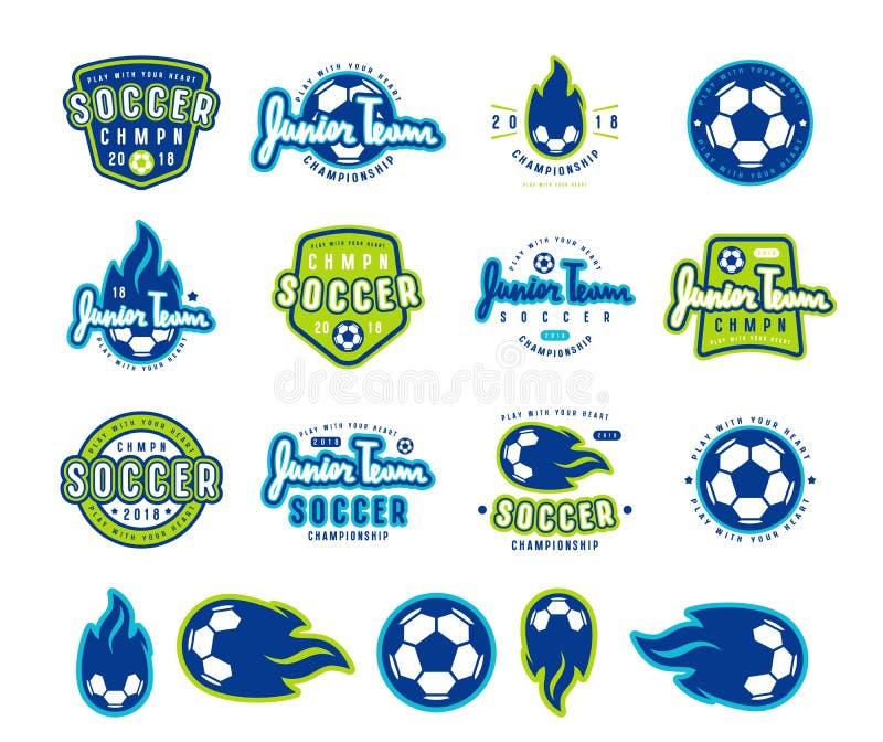 Комплект эмблем и значков футбола иллюстрация вектора