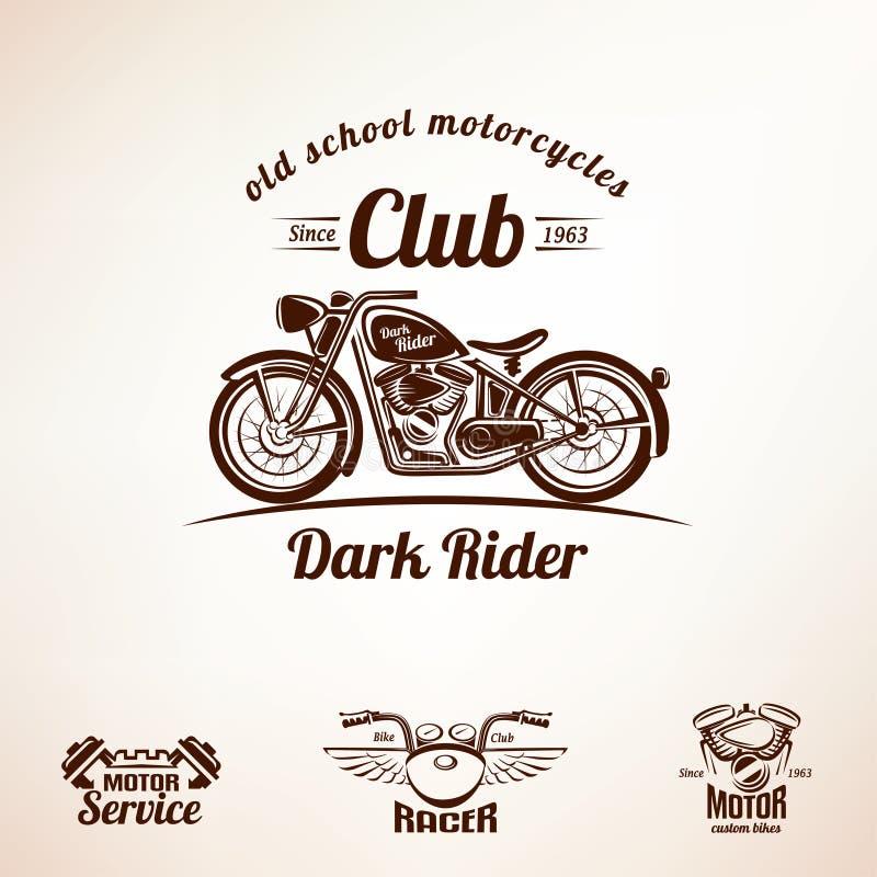 Комплект эмблем и ярлыков мотоцилк иллюстрация вектора