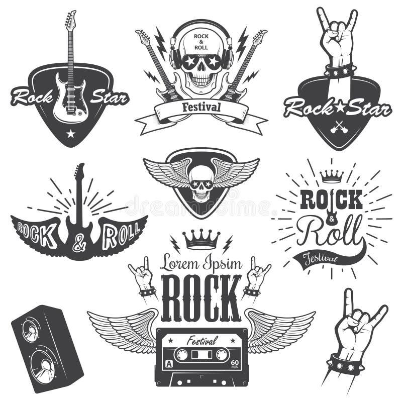 Комплект эмблем музыки рок-н-ролл иллюстрация вектора