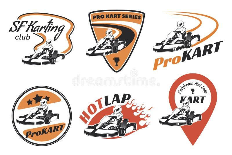 Комплект эмблем, логотипа и значков гонок kart иллюстрация штока