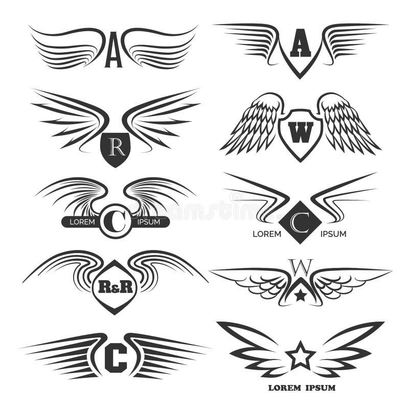 Комплект эмблем с крылами бесплатная иллюстрация