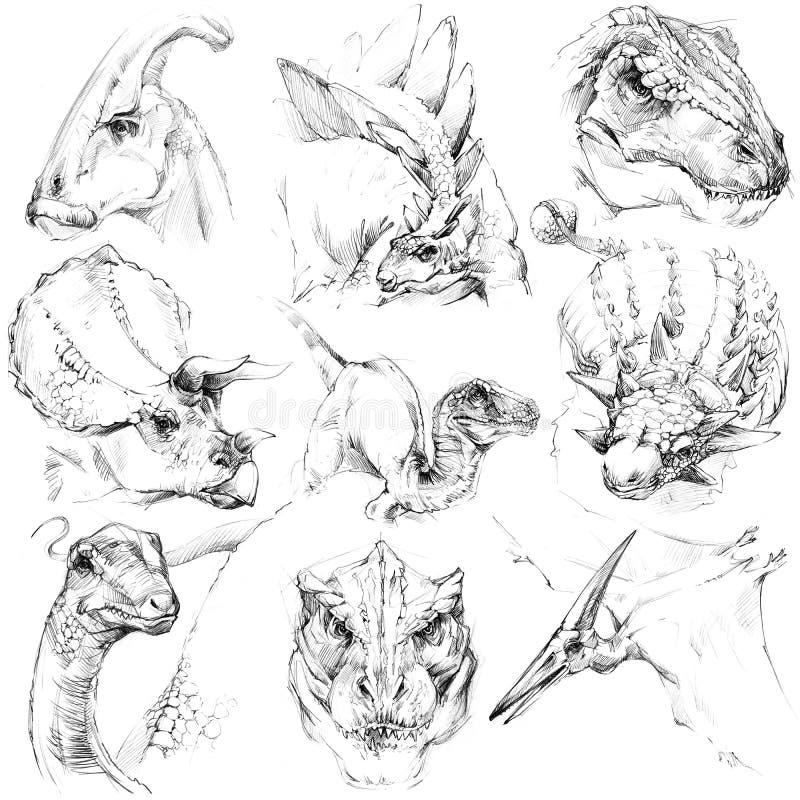 Комплект эскиза динозавра Период динозавра плана юрский иллюстрация вектора
