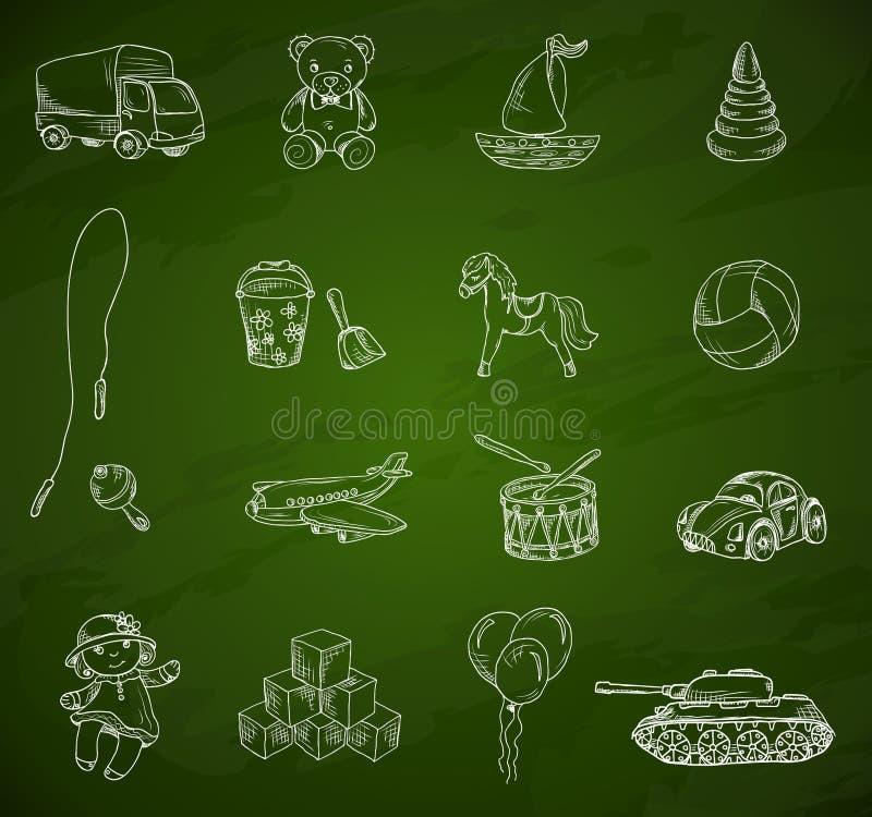 Комплект эскиза доски игрушек иллюстрация вектора