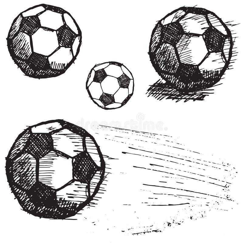 Комплект эскиза футбольного мяча футбола изолированный на белой предпосылке иллюстрация штока