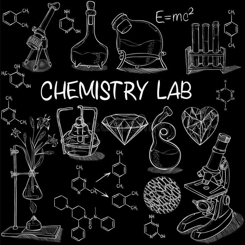 Комплект эскиза химической лаборатории иллюстрация вектора