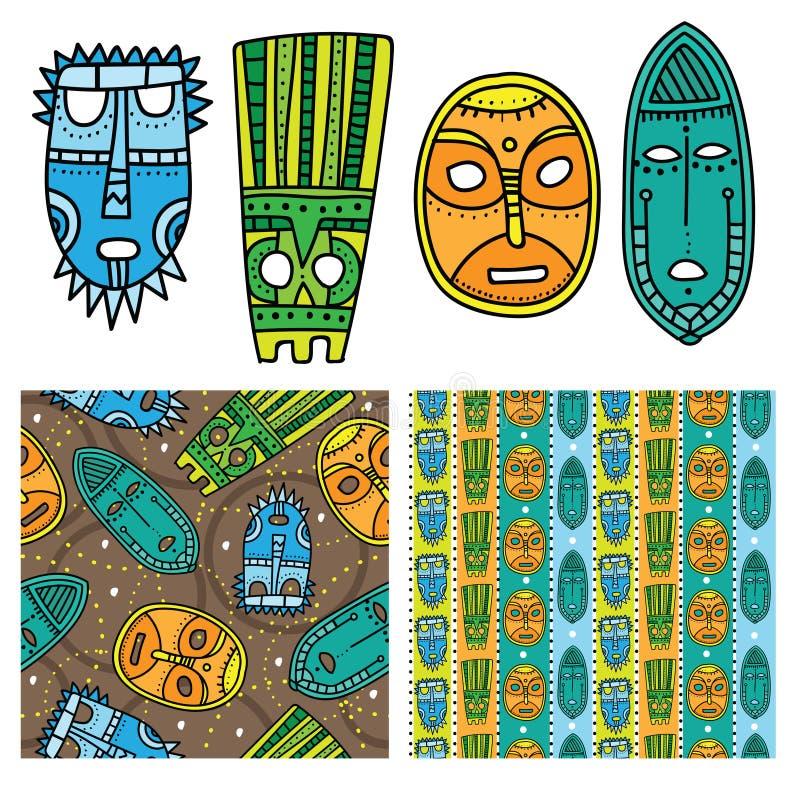 Комплект этнических безшовных картин с племенными африканскими масками Яркая и красочная предпосылка для вашего дизайна иллюстрация штока