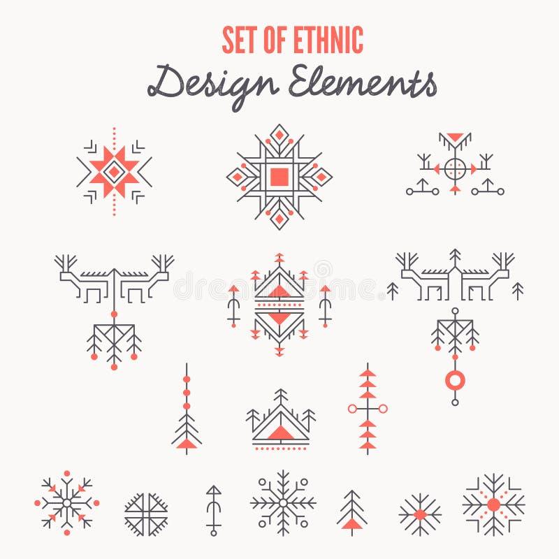 Комплект этнических элементов дизайна, шаблонов логотипа - линии символов стиля старых иллюстрация вектора