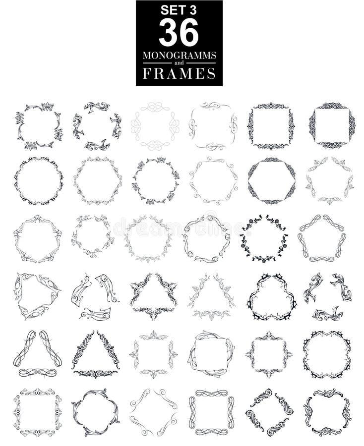 Комплект элегантного дизайна вензеля также вектор иллюстрации притяжки corel бесплатная иллюстрация
