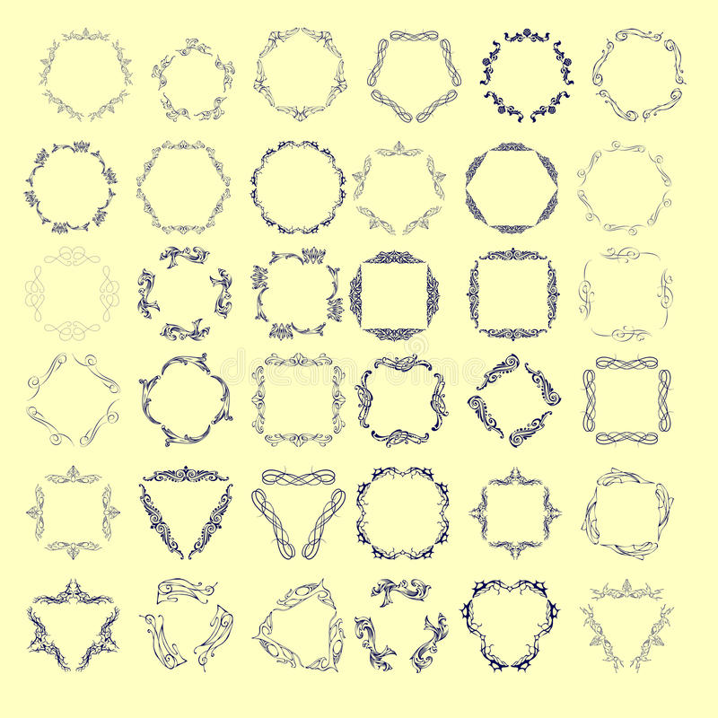 Комплект элегантного дизайна вензеля также вектор иллюстрации притяжки corel иллюстрация штока