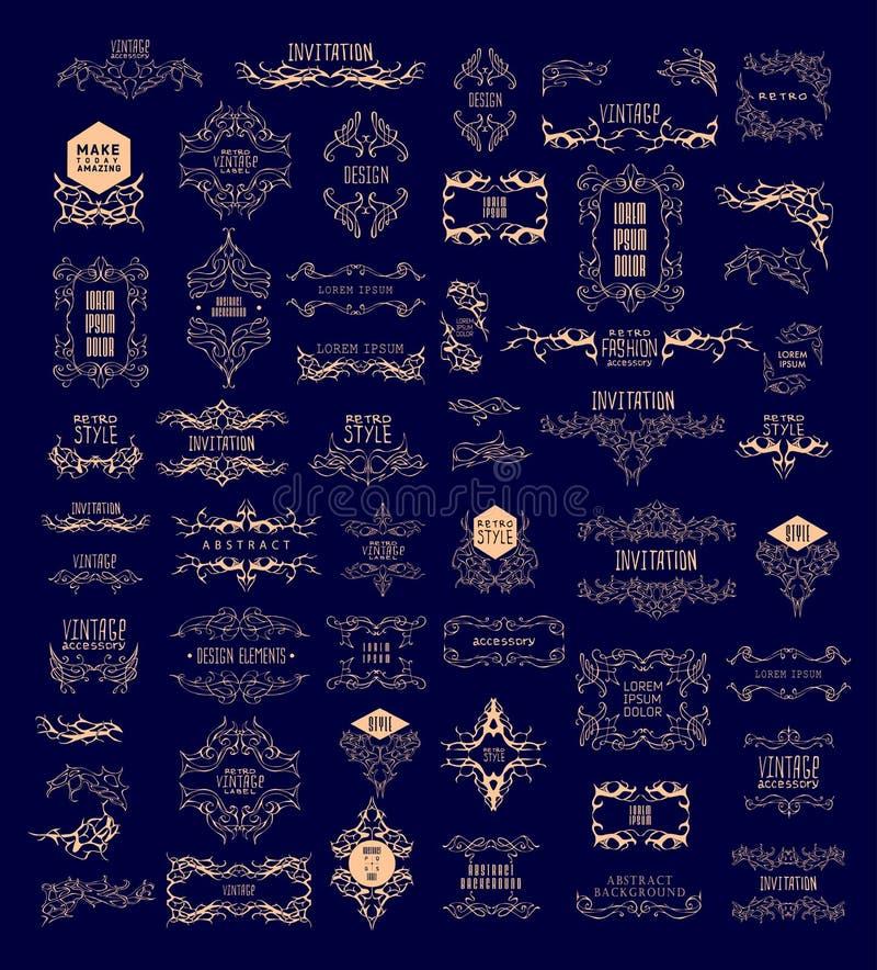 Комплект элегантного каллиграфического дизайна также вектор иллюстрации притяжки corel иллюстрация вектора