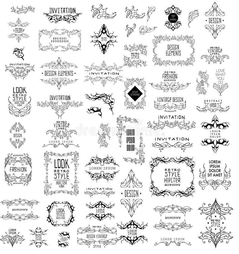 Комплект элегантного каллиграфического дизайна также вектор иллюстрации притяжки corel иллюстрация штока