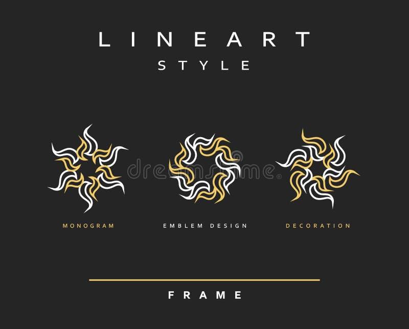 Комплект элегантной линии дизайна искусства Элемент дизайна вензеля иллюстрация вектора