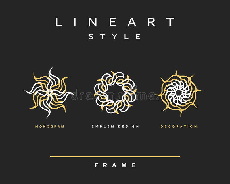 Комплект элегантной линии дизайна искусства Элемент дизайна вензеля иллюстрация штока
