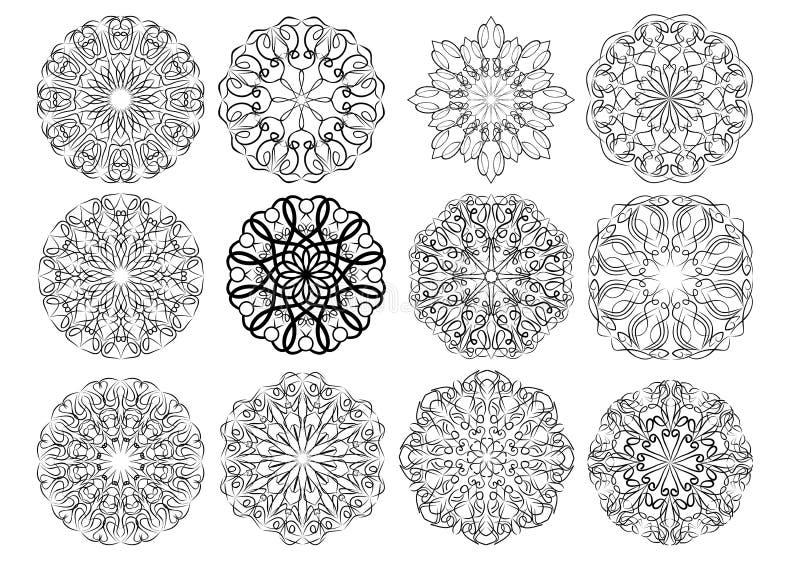 Комплект элегантных каллиграфических круговых элементов дизайна шнурка в черно-белом Геометрический регулярн орнамент составленны иллюстрация вектора