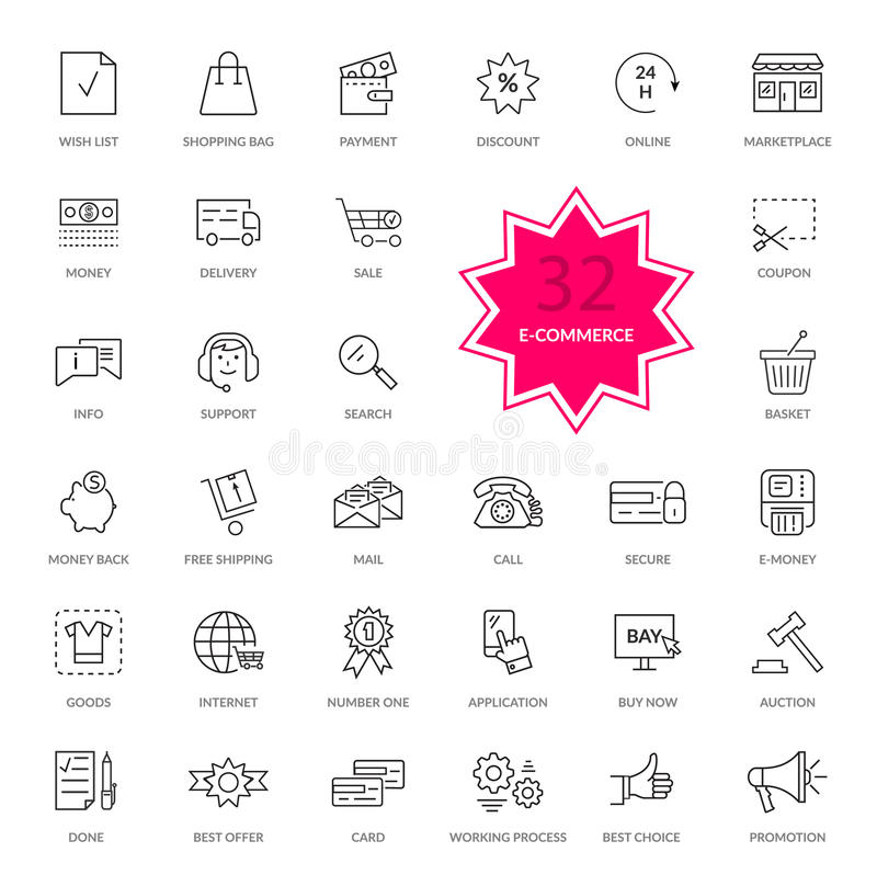 Комплект электронной коммерции утончает, линии значки бесплатная иллюстрация