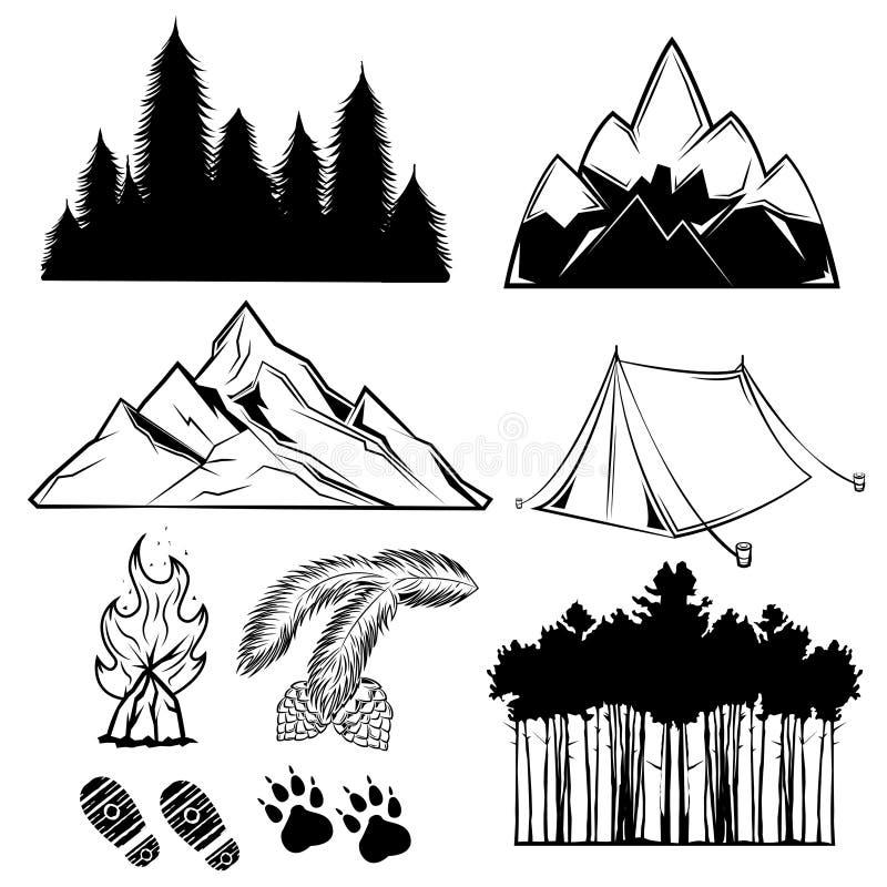Комплект элемента татуировки леса иллюстрация вектора
