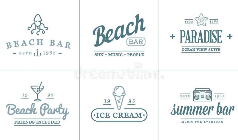 Комплект элементов бара моря пляжа вектора и лето можно использовать как логотип бесплатная иллюстрация