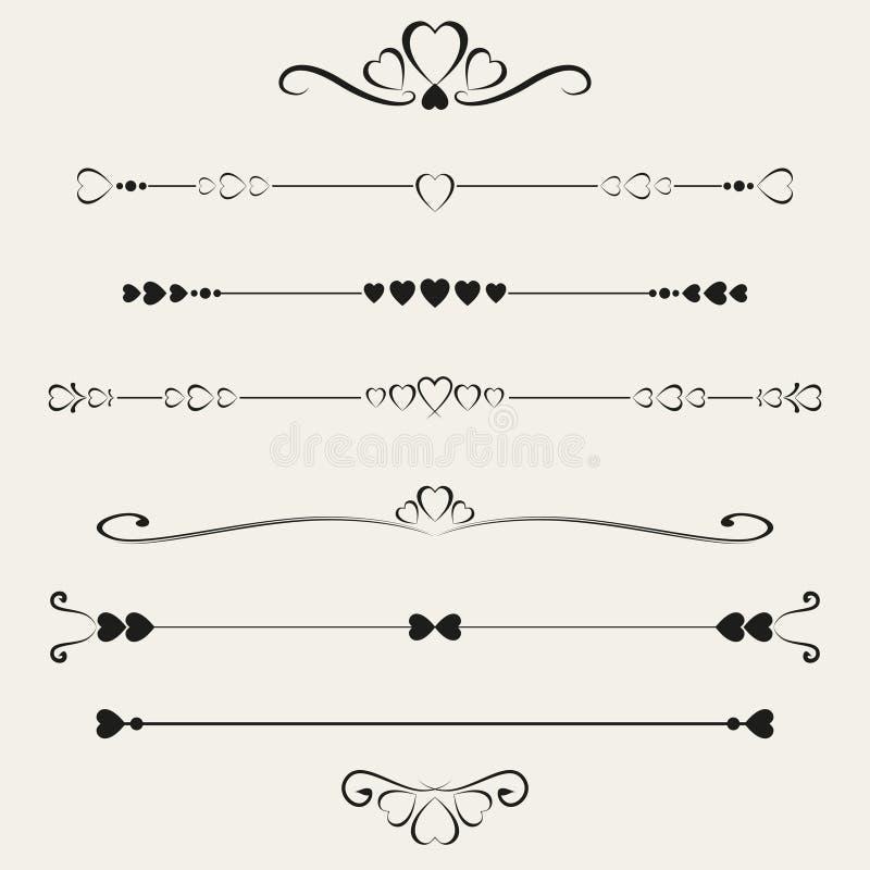 Комплект элементов валентинки, иллюстрация вектора