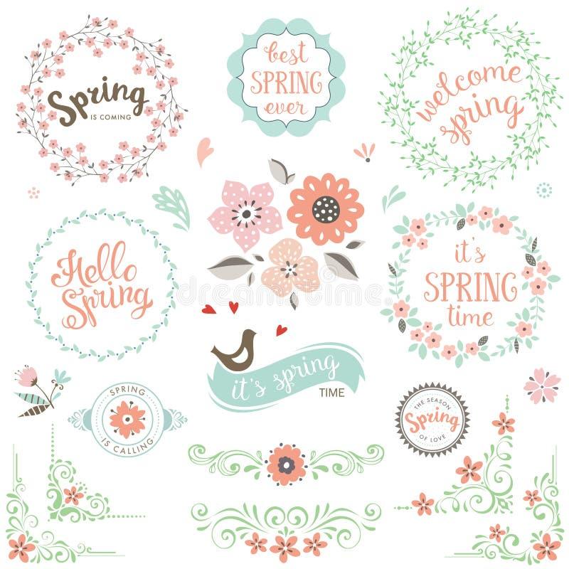 Комплект элементов весны иллюстрация штока